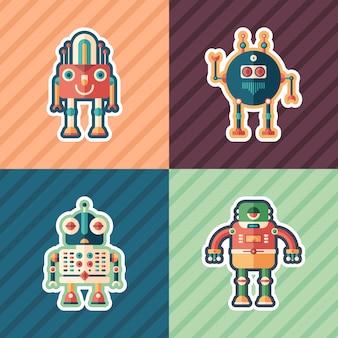Ensemble d'autocollants de robots scientifiques.