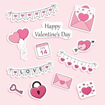 Ensemble d'autocollants de la saint-valentin, enveloppe, coeurs, lettrage