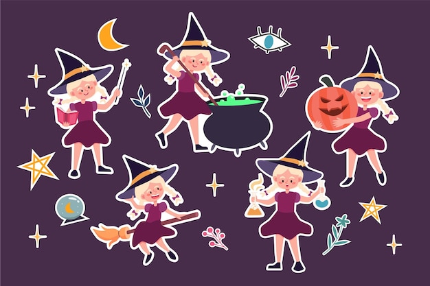 Ensemble d'autocollants de sorcière mignonne