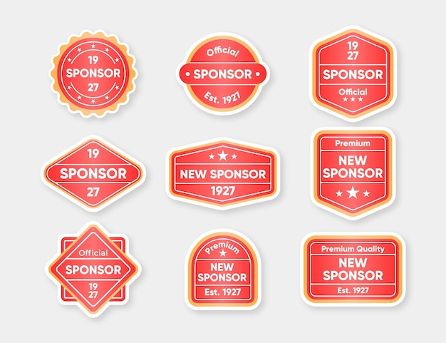 Ensemble d'autocollants de sponsor modernes
