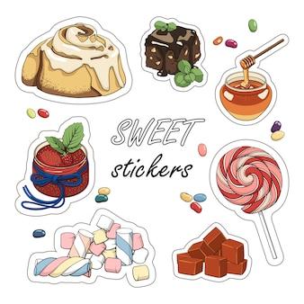 Ensemble d'autocollants sucrés. illustration colorée du dessert.