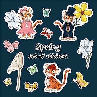 Ensemble d'autocollants avec le symbole de l'année du tigre selon le calendrier chinois. autocollants avec éléments printaniers, fleurs, papillons, filet à papillons. style de dessin animé de vecteur