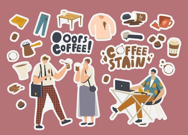 Ensemble d'autocollants taches de café. personnages maladroits, cezve avec boisson, chemise ou pantalon avec taches, filtre pour machine à café, tasse cassée et dossier de documents avec cercles bruns. illustration vectorielle de dessin animé