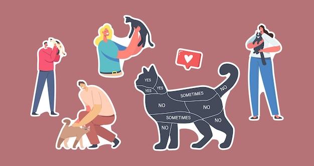Ensemble d'autocollants thème personnes et animaux de compagnie. chat avec infographie sur le corps oui, non, parfois. les personnages des propriétaires caressent leurs animaux, passent du temps avec des chatons. illustration vectorielle de dessin animé