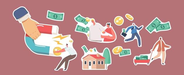 Ensemble d'autocollants thème de recouvrement de créances. main avec aimant, personnages familiaux avec bébé sur les mains, maison de campagne, homme d'affaires s'échappant, billets d'argent et pièces volantes. illustration vectorielle de gens de dessin animé