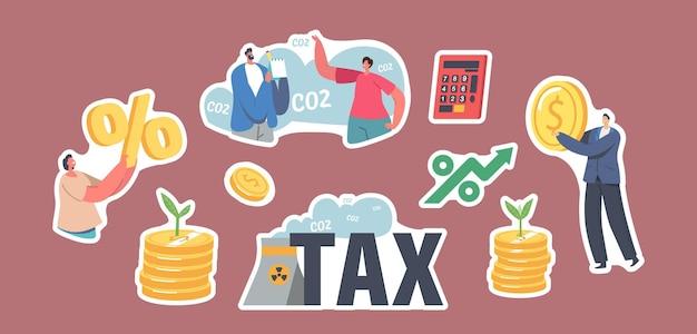 Ensemble d'autocollants thème de la taxe sur le co2 vert. caractères avec pièce d'or et symbole de pourcentage. la pousse pousse sur une pile d'argent, une calculatrice et un tuyau d'usine émettant de la fumée toxique dans l'air. illustration vectorielle de dessin animé