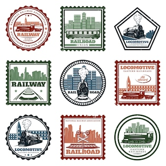 Ensemble d'autocollants et de timbres de locomotive vintage
