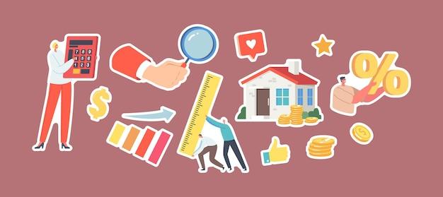 Ensemble d'autocollants valeur de la propriété, thème de l'évaluation immobilière. petits personnages avec énorme calculatrice, symbole de pourcentage et règle, main avec loupe, pièces d'or, maison. illustration vectorielle de gens de dessin animé