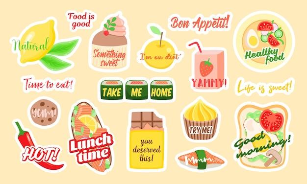 Ensemble d'autocollants vectoriels colorés d'un assortiment d'aliments sains et malsains avec des inscriptions élégantes conçues comme des illustrations de concept de plats à emporter