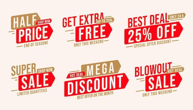Ensemble d'autocollants de vente avec méga remise et offre à moitié prix. badge avec extra gratuit, meilleure offre jusqu'à 25% de réduction