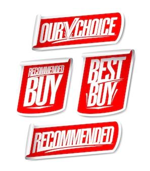 Ensemble d'autocollants de vente recommandé, notre choix, meilleur achat et achat recommandé