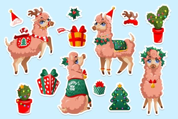 Ensemble d'autocollants avec vigogne lama du nouvel an