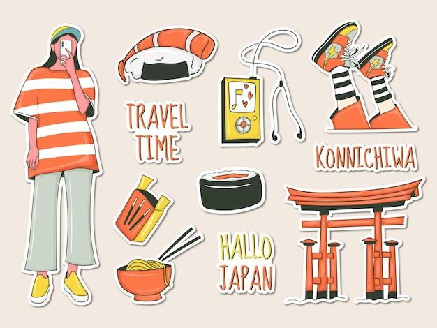 Ensemble d'autocollants de voyage avec thème japonais