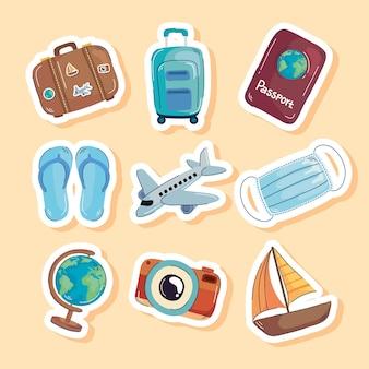 Ensemble d'autocollants de voyage