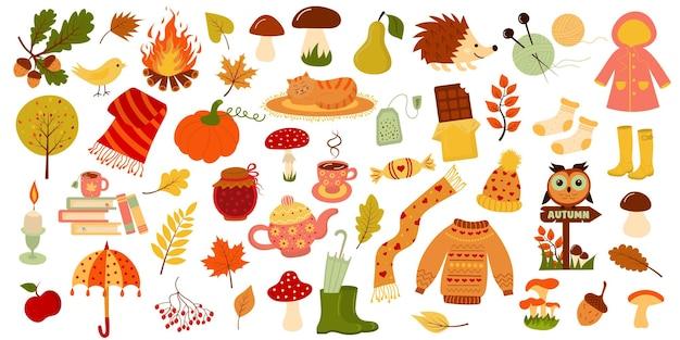 Ensemble d'automne collection d'icônes de saison automne automne bonjour