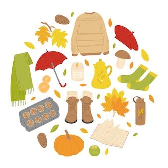 Ensemble d'automne dans un cadre rond avec chandail écharpe feuilles bottes livre théière citrouille béret érable