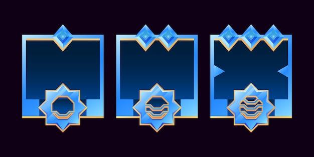 Ensemble d'avatar de bordure de diamant doré et brillant gui pour les éléments d'actif de l'interface utilisateur de jeu