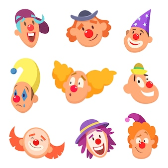 Ensemble d'avatar de clowns drôles avec différentes émotions