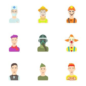 Ensemble d'avatar de différentes professions, style cartoon