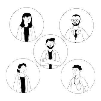 Ensemble, de, avatar, docteur, contour, dessin animé