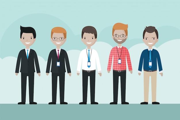 Ensemble d'avatar homme d'affaires de dessin animé