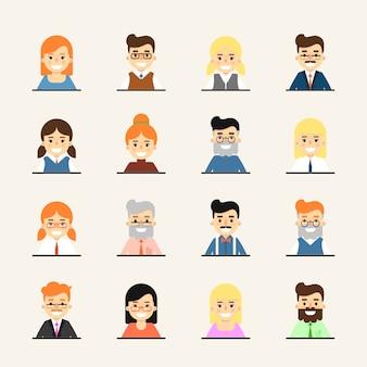 Ensemble d'avatar personnes dessin animé souriant