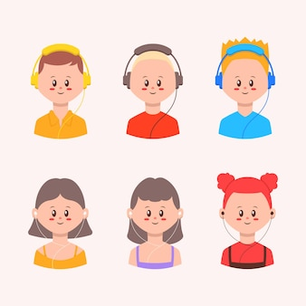 Ensemble d'avatar de personnes portant une illustration de casque et d'écouteurs