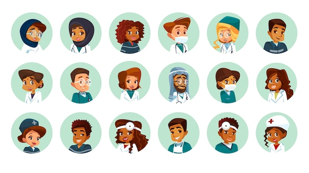 Ensemble d'avatars de caractère médical multinationale de bande dessinée.