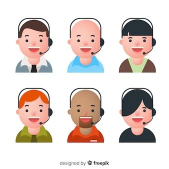 Ensemble d'avatars de centre d'appels