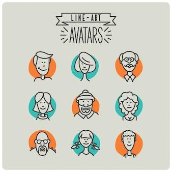 Ensemble d'avatars dessinés à la main