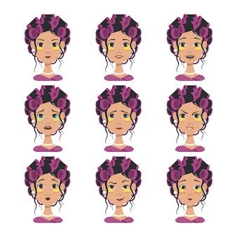 Ensemble d'avatars avec différentes émotions fille avec bigoudis roses et patchs jaunes
