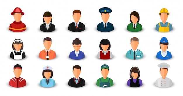 Ensemble d'avatars avec différentes professions