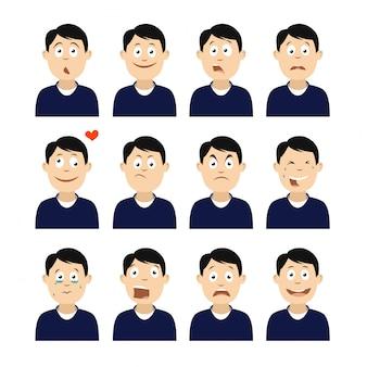 Ensemble d'avatars avec des émotions.
