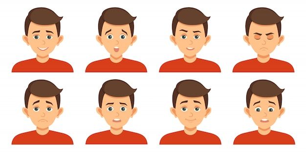 Ensemble d'avatars avec des expressions faciales de l'enfant
