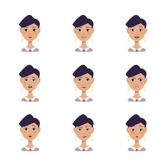 Un ensemble d'avatars de femme avec différentes émotions visage de coiffure courte cheveux noirs en chemise