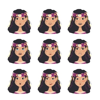 Un ensemble d'avatars de femme avec différentes émotions