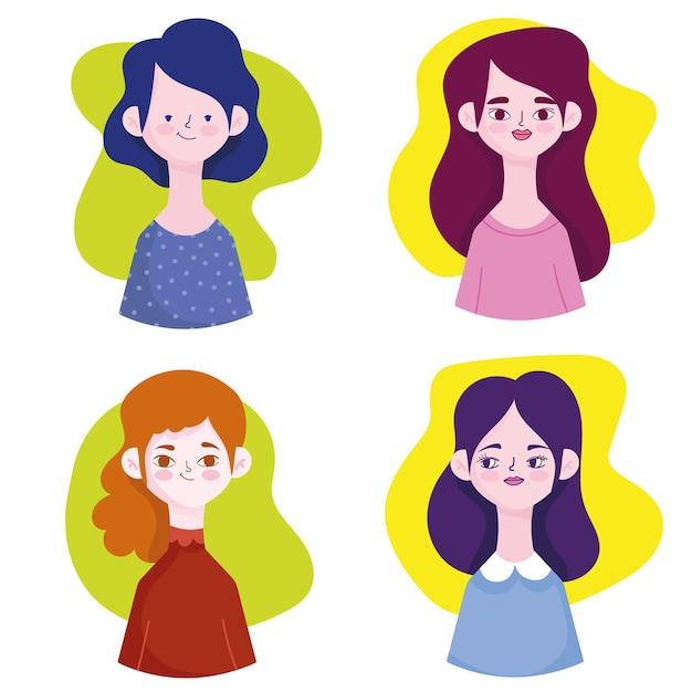 Ensemble d'avatars de femmes