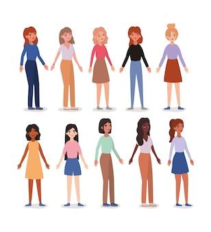 Ensemble d'avatars femmes