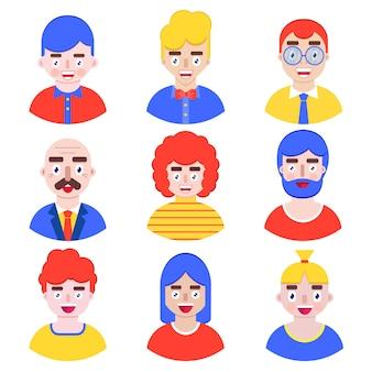 Ensemble d'avatars de garçons