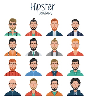 Ensemble d'avatars hipster