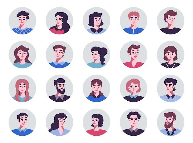 Ensemble d'avatars hommes et femmes