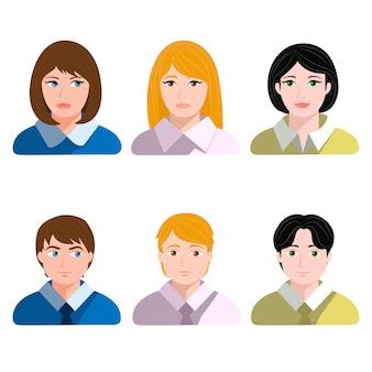Ensemble d'avatars masculins et féminins