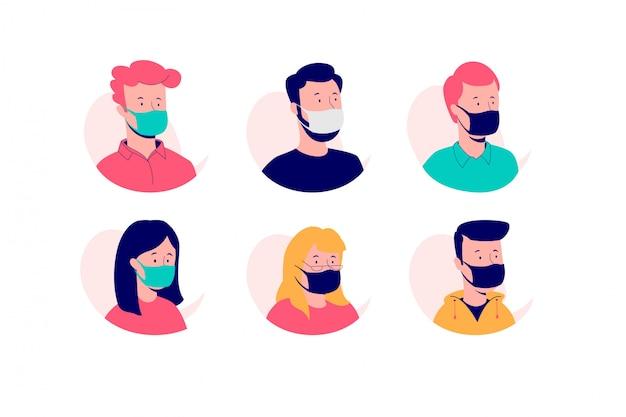 Ensemble d'avatars masqués.