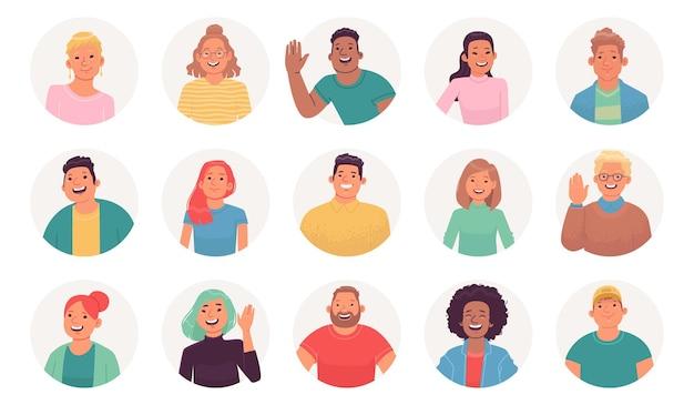 Ensemble d'avatars de personnages hommes et femmes d'affaires sourient personnes multiculturelles pour la conception de profil