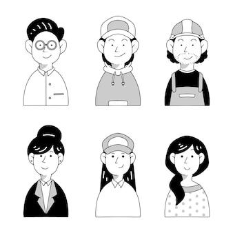 Ensemble d'avatars de personnes dessinées à la main