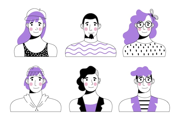 Ensemble d'avatars de personnes dessinées à la main