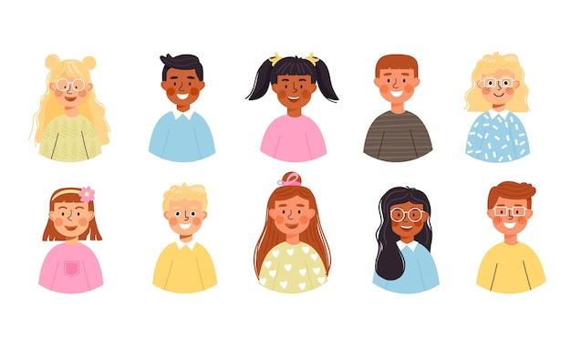 Ensemble d'avatars pour enfants.