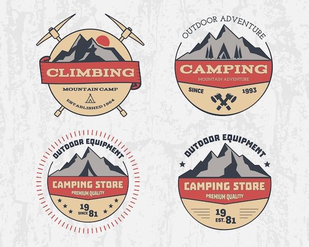 Ensemble d'aventure de camping en plein air de couleur rétro et montagne, escalade, logo insigne de randonnée, emblème, étiquette.