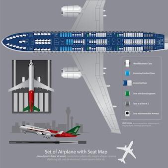 Ensemble d'avion avec illustration de siège carte isolé