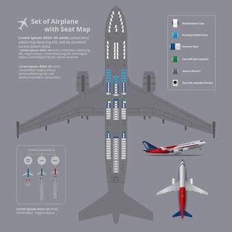 Ensemble d'avion avec illustration vectorielle de siège carte isolé